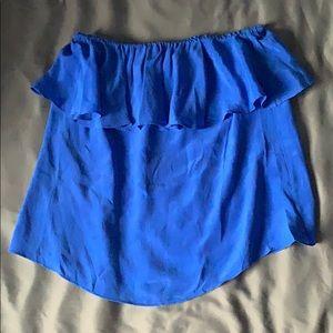 Cobalt Ruffle Strapless Top